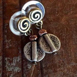 Jewelry - Silver & copper tiny tribal post earrings